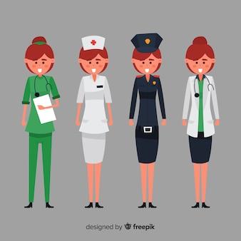 Equipe de serviço de emergência em design plano