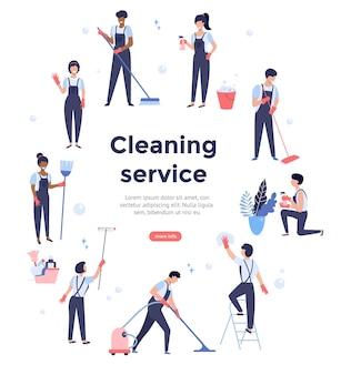 Equipe de serviço de limpeza trabalhando