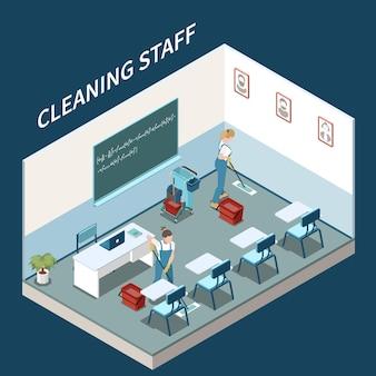 Equipe de serviço profissional que mantém as salas de estudo da faculdade e o campus, composição isométrica limpa com esfregão