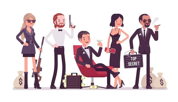 Equipe de serviço secreto em design plano