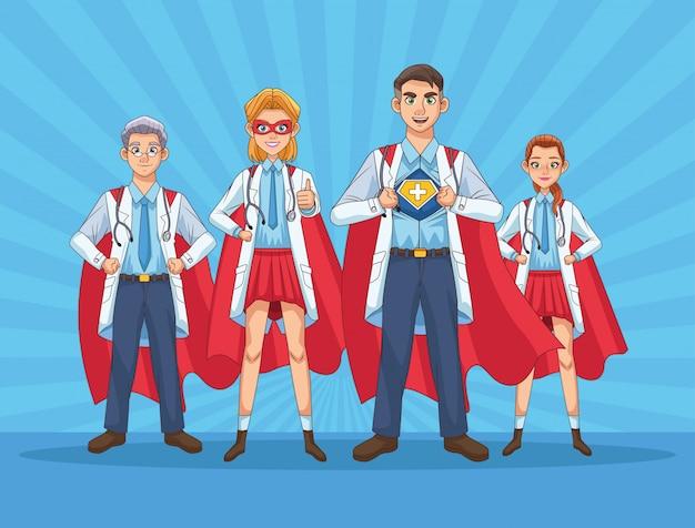 Equipe de super médicos com mantos de heróis