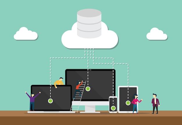Equipe de tecnologia de computação em nuvem desenvolver ou desenvolvedor com banco de dados de nuvem e dados