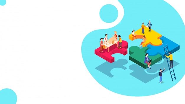 Equipe de texto 3d com pessoas em miniatura.