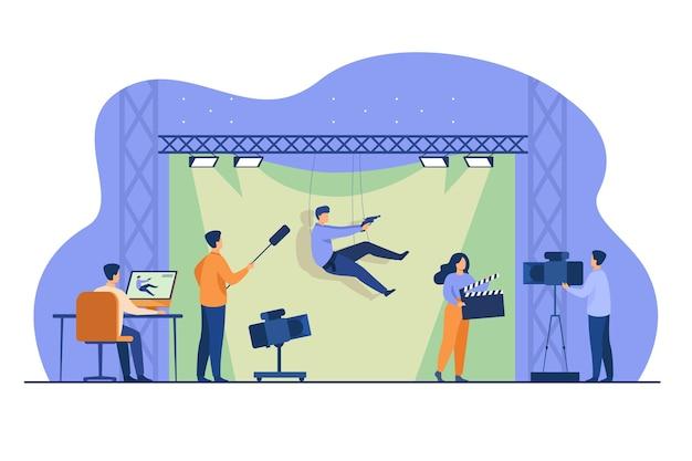 Equipe de tiro filmando a cena de ação com dublê caindo e segurando a arma contra o pano de fundo verde. ilustração vetorial para cinema, produção de filmes, casting, conceito de dublê
