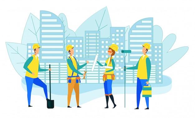 Equipe de trabalhadores da construção civil com instrumentos