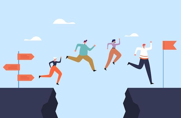 Equipe de trabalhadores de escritório de pessoas de negócios saltar sobre o conceito de rocha.