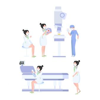Equipe de trabalhadores médicos em um fundo branco