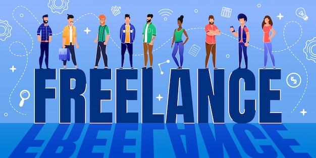 Equipe de trabalhadores minúsculos permanente na enorme palavra freelance