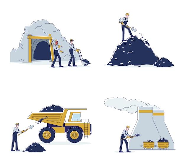 Equipe de trabalho da mina de carvão por meio de equipamentos