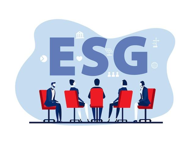 Equipe de trabalho em reunião ou troca de ideias com projeto esg ou conceito de problema ecológico, ilustrador vetorial