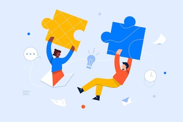 Equipe de trabalho juntando peças do quebra-cabeça, brainstorming, colaboração, conceito de parceria