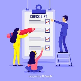 Equipe de trabalho verificando fundo de lista de verificação gigante