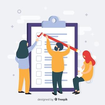 Equipe de trabalho verificando lista de verificação gigante