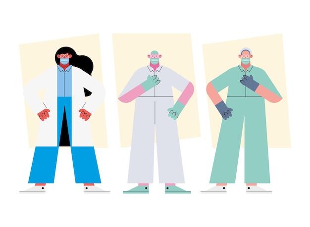 Equipe de três médicos