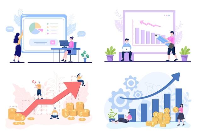 Equipe de vendas com desenvolvimento de crescimento financeiro de negócios de pessoas que trabalham. análise da ilustração vetorial de informações da empresa