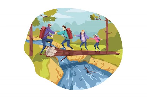 Equipe de viagem, trabalho em equipe, turismo, natureza, conceito de caminhadas