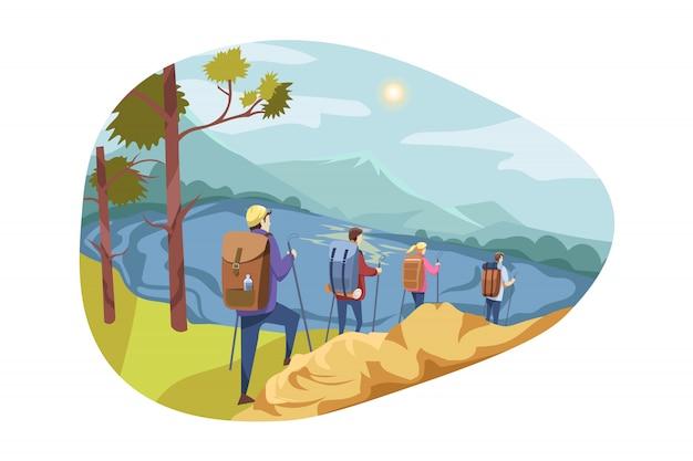 Equipe de viagem, turismo, natureza, conceito de caminhadas