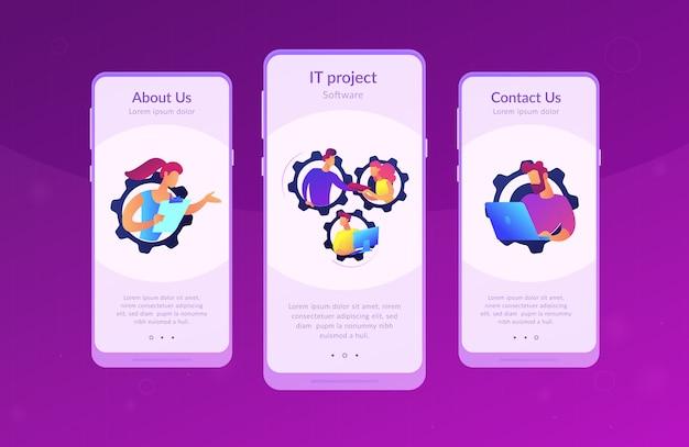 Equipe dedicada modelo de interface de aplicativo