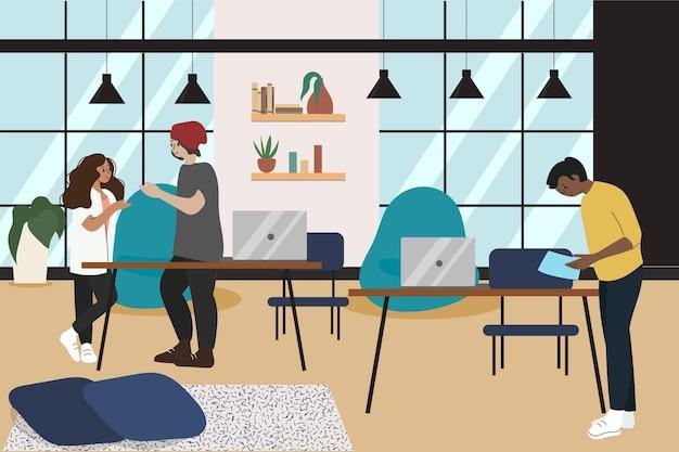 Equipe desenhada à mão plana trabalhando na mesma sala