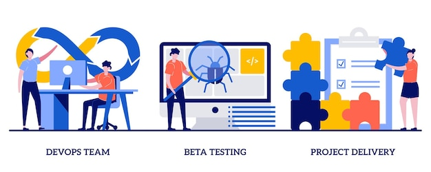 Equipe devops, teste beta, conceito de entrega de projeto com pessoas minúsculas. conjunto de desenvolvimento de software e análise de tecnologia. trabalho em equipe de programação, garantia de qualidade.