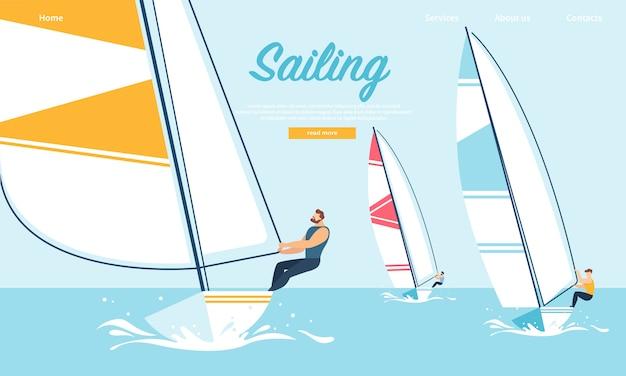 Equipe dinâmica luta regatta veleiro, competição de água de verão