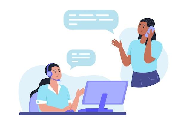 Equipe do departamento de suporte ao cliente ajudando um cliente por meio de uma chamada de linha direta para resolver um problema