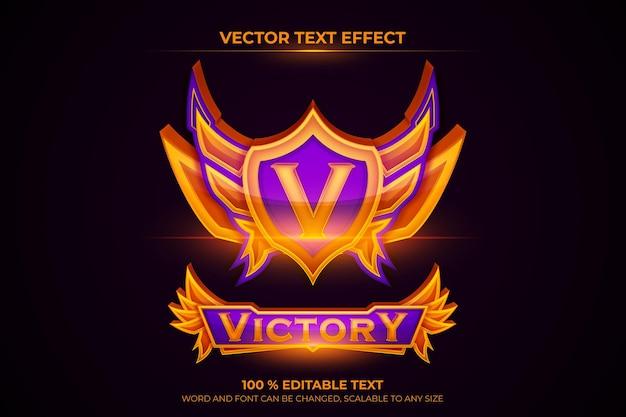 Equipe do emblema do jogo esportivo de vitória gradiente com texto editável