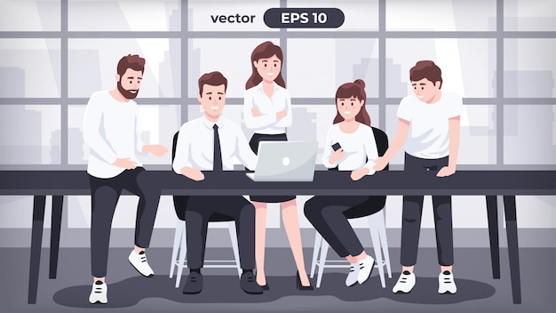 Equipe do escritório. trabalho em equipe. conjunto de empresário. homem no interior do local de trabalho. trabalhador de terno junto à mesa. pessoas dos desenhos animados em poses diferentes. personagens fofinhos. design simples. ilustração do estilo simples.