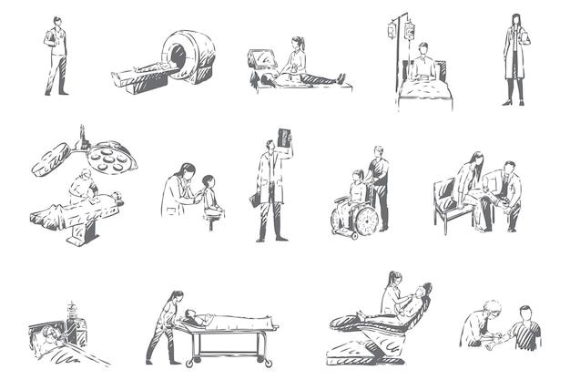 Equipe do hospital e pacientes, ilustração do esboço do conceito de medicina
