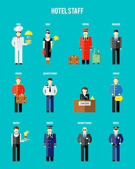 Equipe do hotel de vetor. segurança e polícia, recepcionista e porteiro, porteiro e garçom