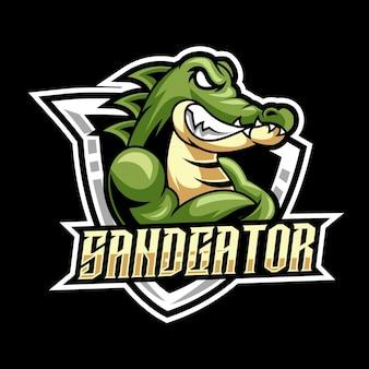 Equipe do logotipo do personagem jacaré irritado mascote esport