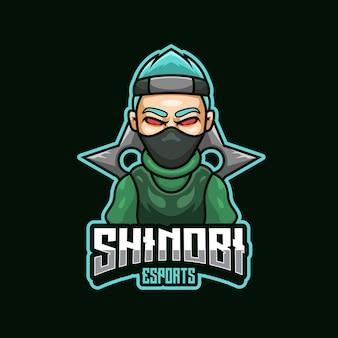 Equipe do logotipo do shinobi cartoon mascot esport