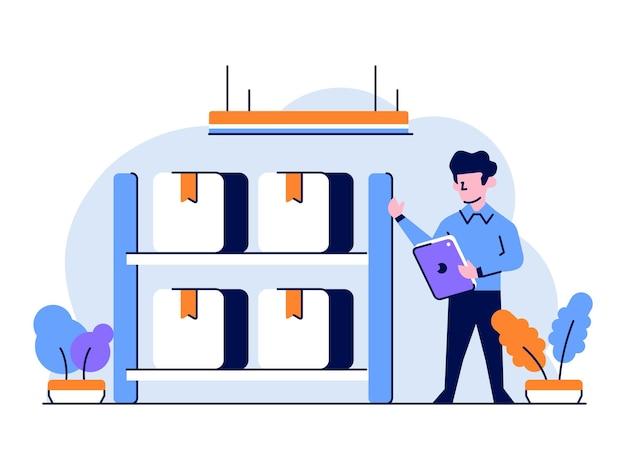 Equipe do mercado de comércio eletrônico de ilustração vetorial verificar produtos, abastecimento, armazém, estilo de contorno plano