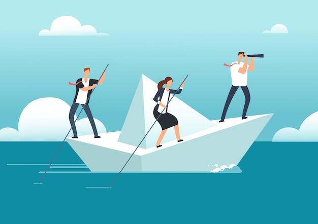 Equipe do negócio com navigação do líder no barco de papel no oceano das oportunidades ao objetivo.