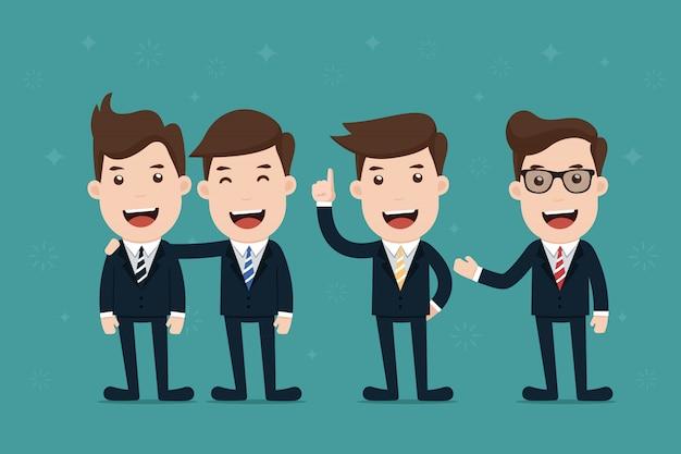 Equipe do personagem de empresário.