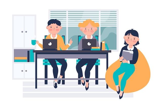 Equipe dupla desenhada à mão plana, coworking em laptops