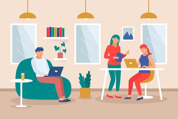 Equipe dupla desenhada à mão plana em coworking dentro de casa