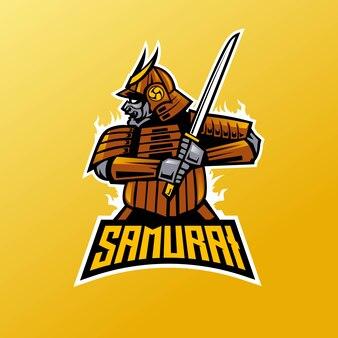 Equipe esport do logotipo do mascote do guerreiro samurai