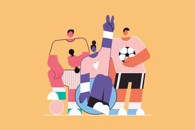 Equipe, esporte, saúde, cuidados, fitness, conceito de futebol