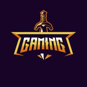 Equipe esportiva de design de logotipo de mascote de espada