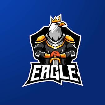 Equipe esportiva de design de logotipo de mascote eagle e-sport