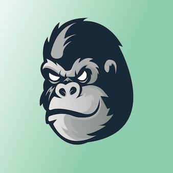 Equipe esportiva de design de logotipo de mascote gorila