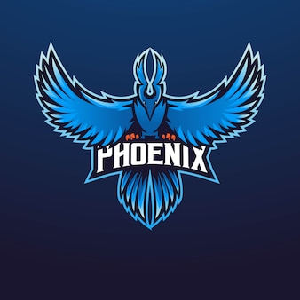 Equipe esportiva de design de logotipo do mascote phoenix