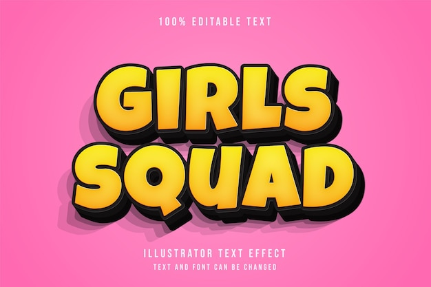 Equipe feminina, estilo de texto em quadrinhos com gradação amarela com efeito de texto editável em 3d