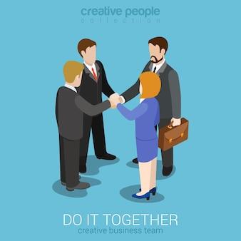 Equipe forte construindo equipe união web plana 3d