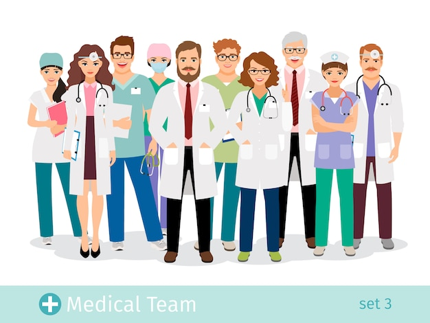Equipe hospitalar. grupo de profissionais da equipe médica plana em ilustração vetorial uniforme