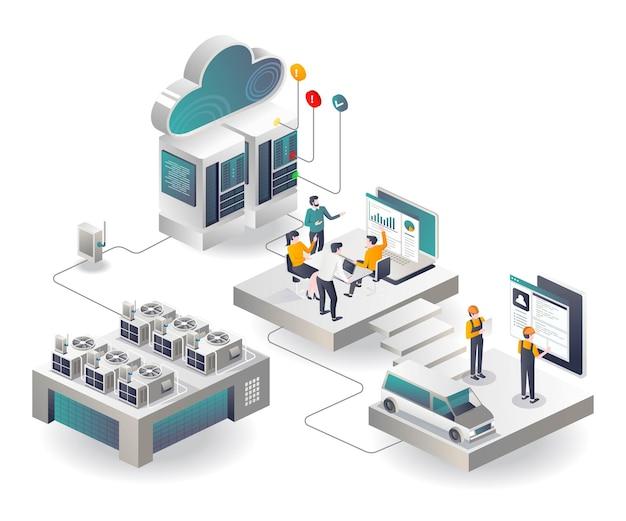 Equipe hvac e construtores no servidor em nuvem