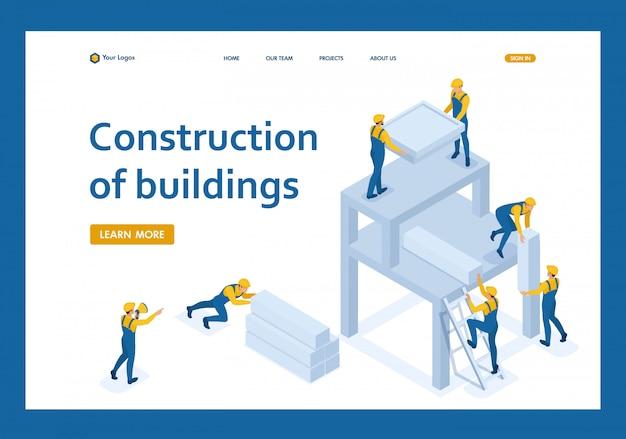Equipe isométrica de construtores cria um edifício, trabalhadores se ajudam landing page