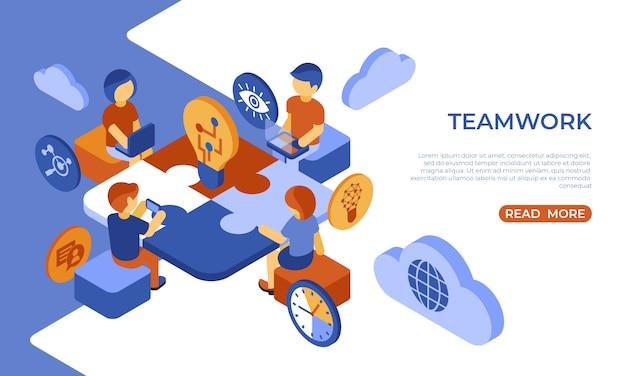 Equipe isométrica trabalho pessoas negócios e segurança infográficos