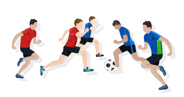 Equipe jogando futebol